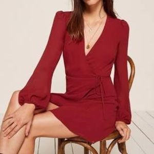 Reformation Red Wrap Dress